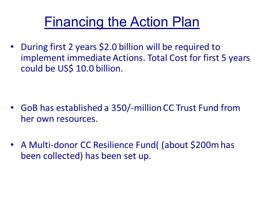 Financing the Action Plan