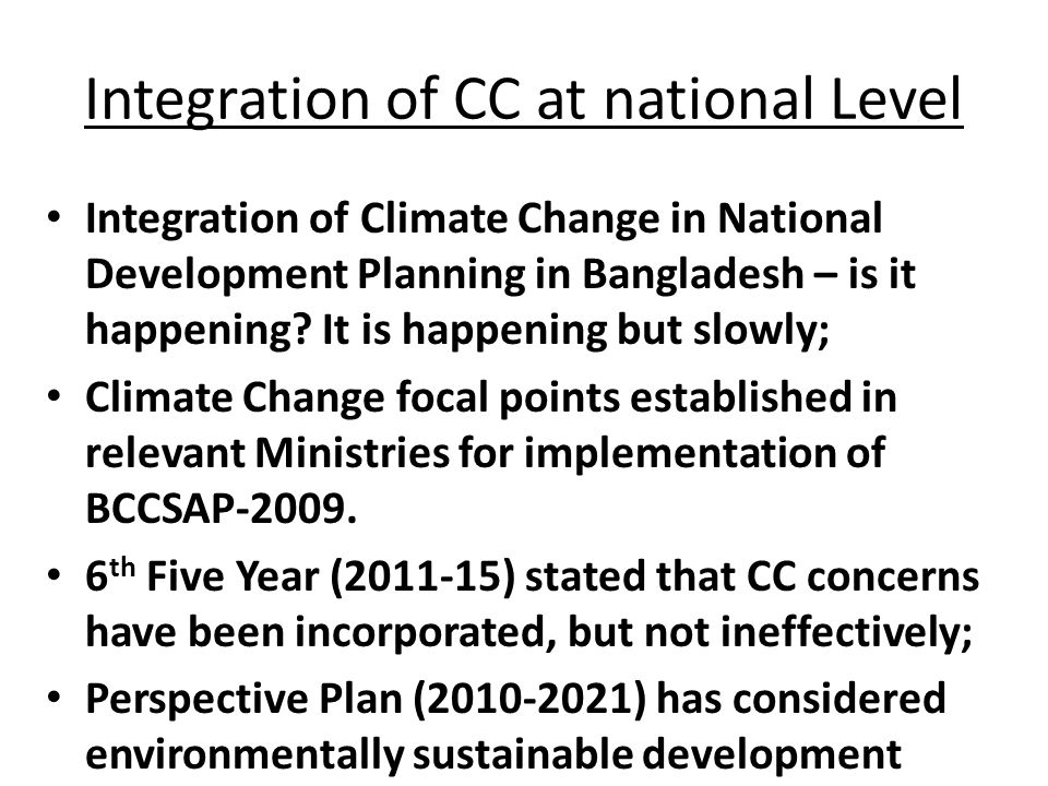 Integration of CC at national Level