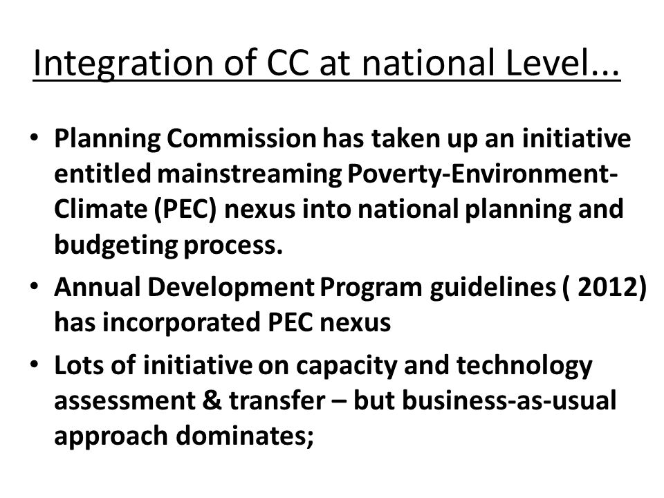 Integration of CC at national Level...