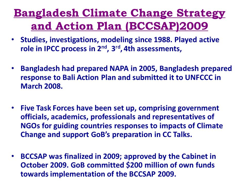 Bangladesh Climate Change Strategy and Action Plan (BCCSAP)2009