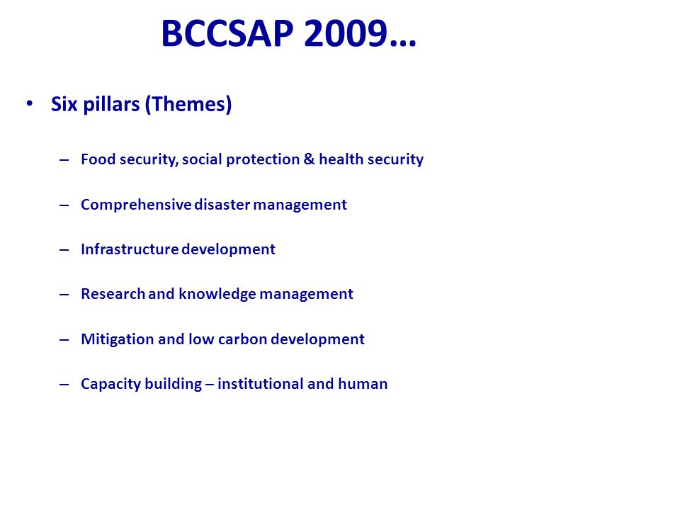 BCCSAP 2009… Six pillars (Themes)