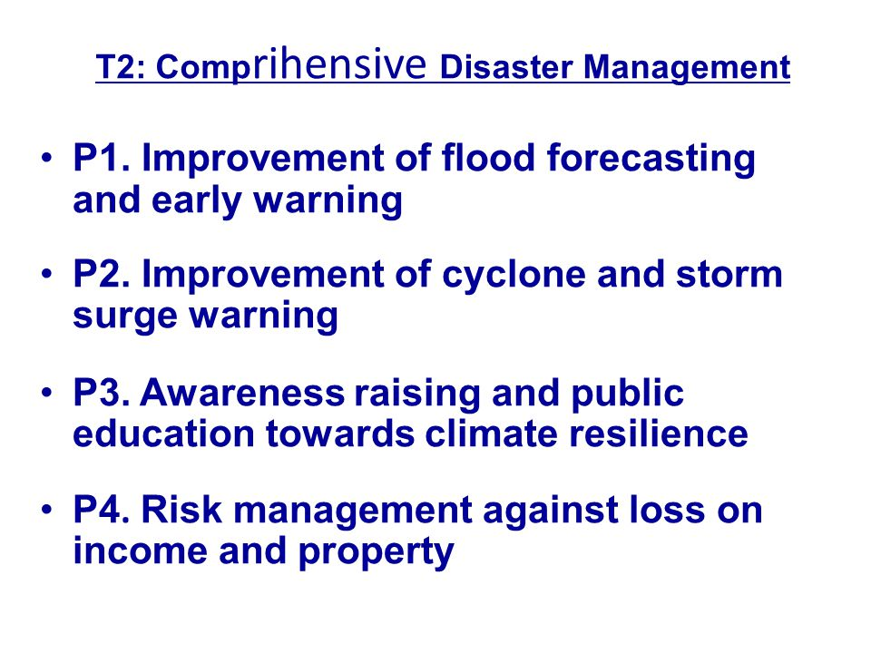 T2: Comprihensive Disaster Management