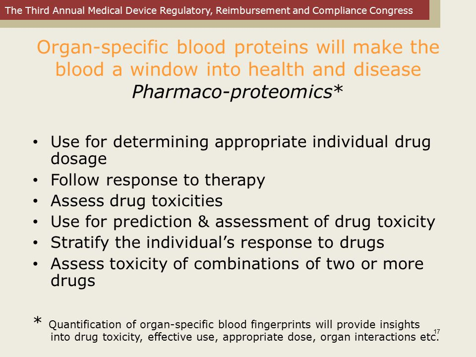 Organ-specific blood proteins will make the blood a window into health and disease Pharmaco-proteomics*