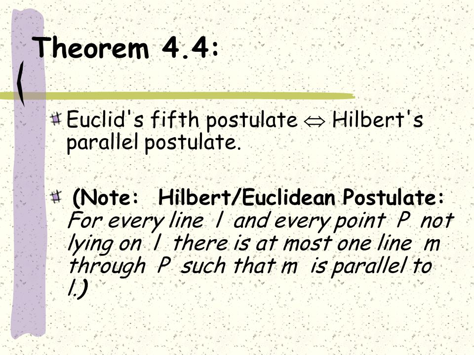 Theorem 4.4: Euclid s fifth postulate  Hilbert s parallel postulate.
