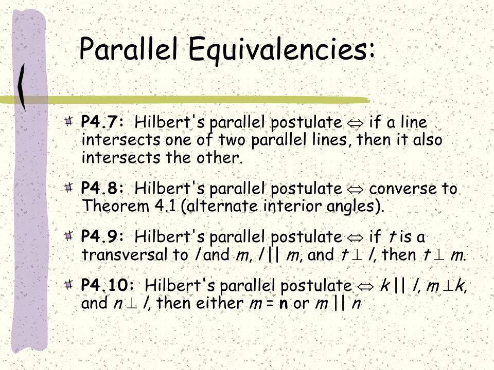 Parallel Equivalencies: