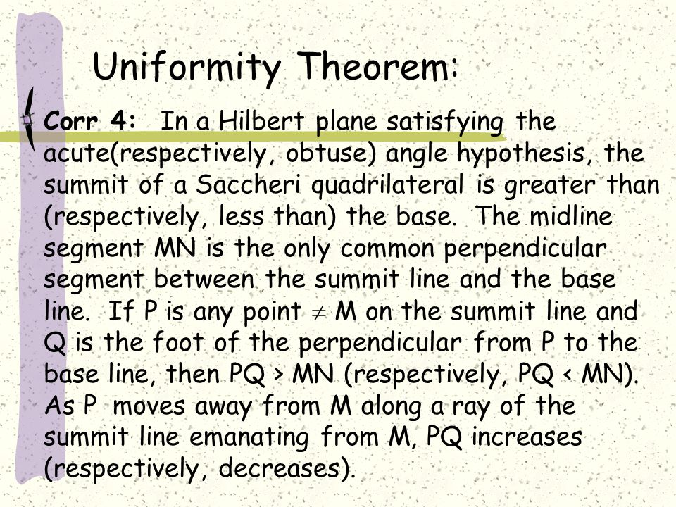 Uniformity Theorem: