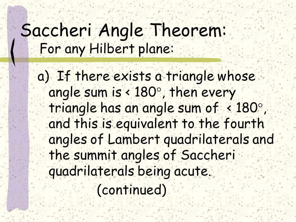 Saccheri Angle Theorem: For any Hilbert plane: