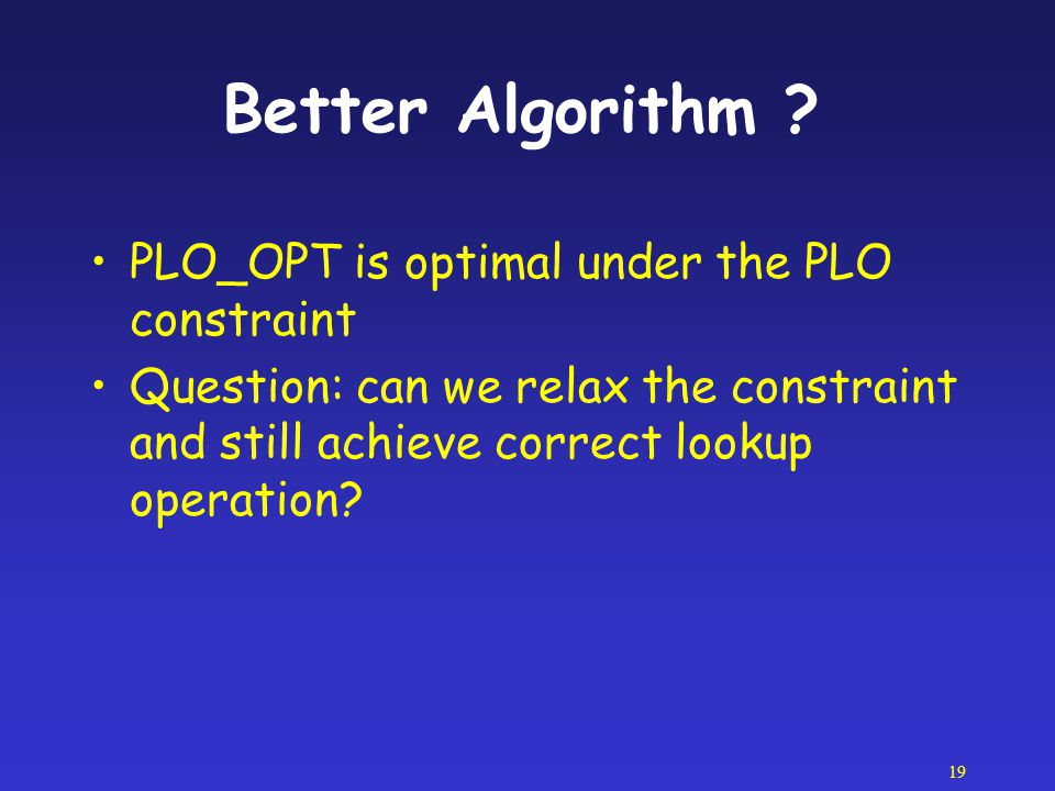 Better Algorithm PLO_OPT is optimal under the PLO constraint