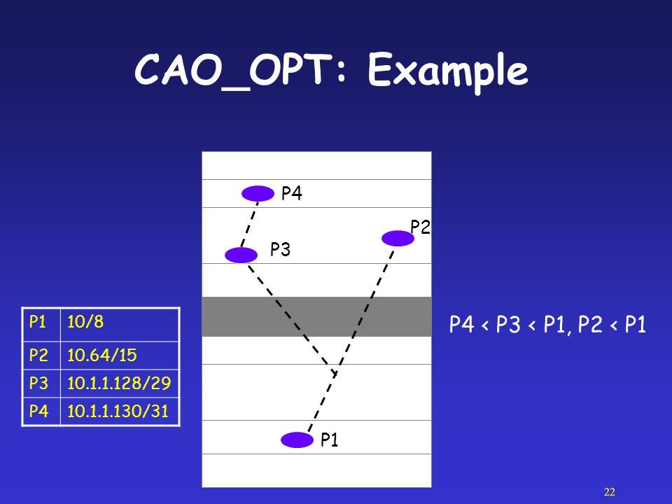 CAO_OPT: Example P4 < P3 < P1, P2 < P1 P4 P2 P3 P1 P1 10/8 P2