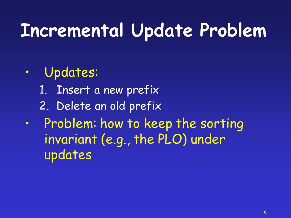 Incremental Update Problem