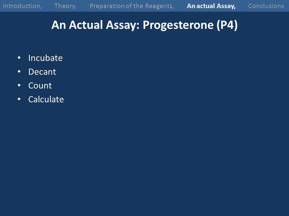 An Actual Assay: Progesterone (P4)
