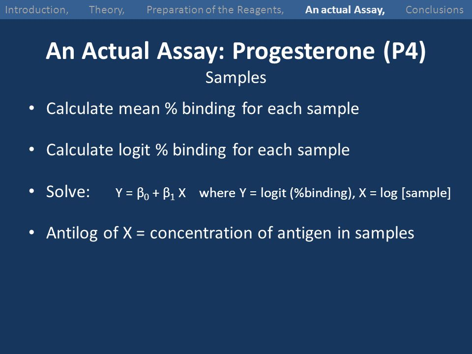 An Actual Assay: Progesterone (P4) Samples