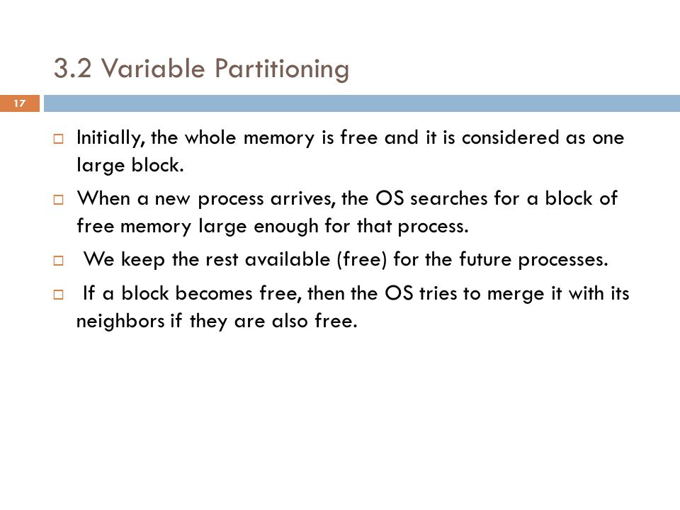 3.2 Variable Partitioning