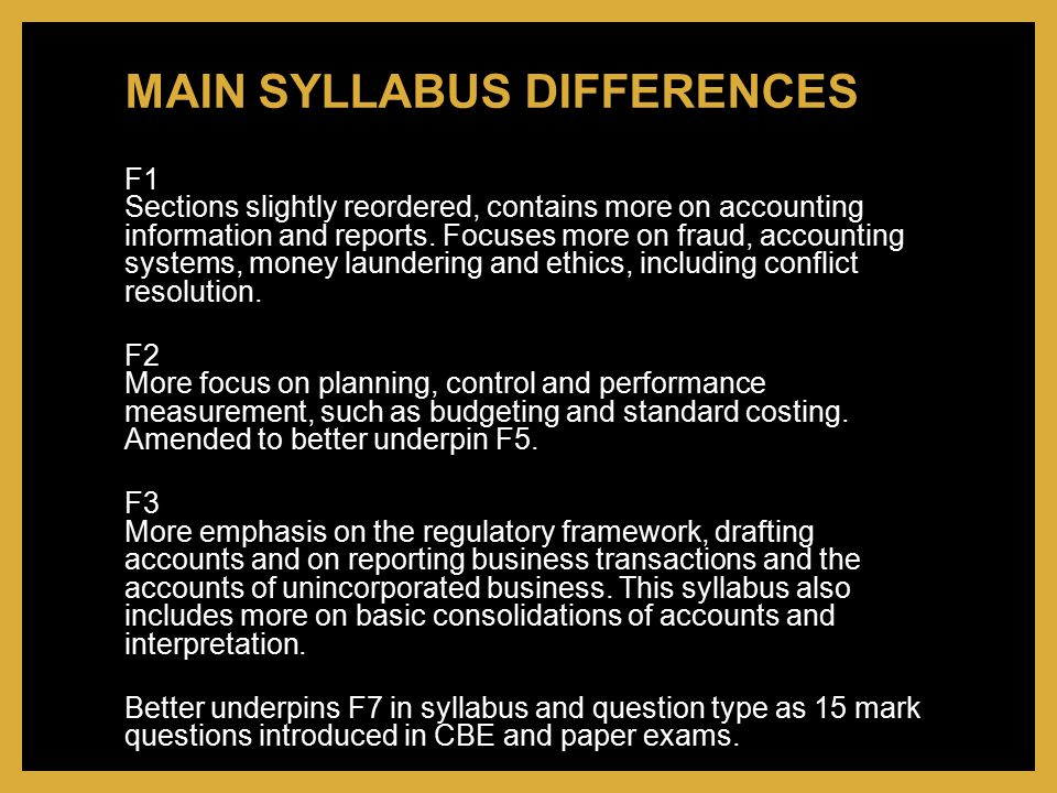 MAIN SYLLABUS DIFFERENCES