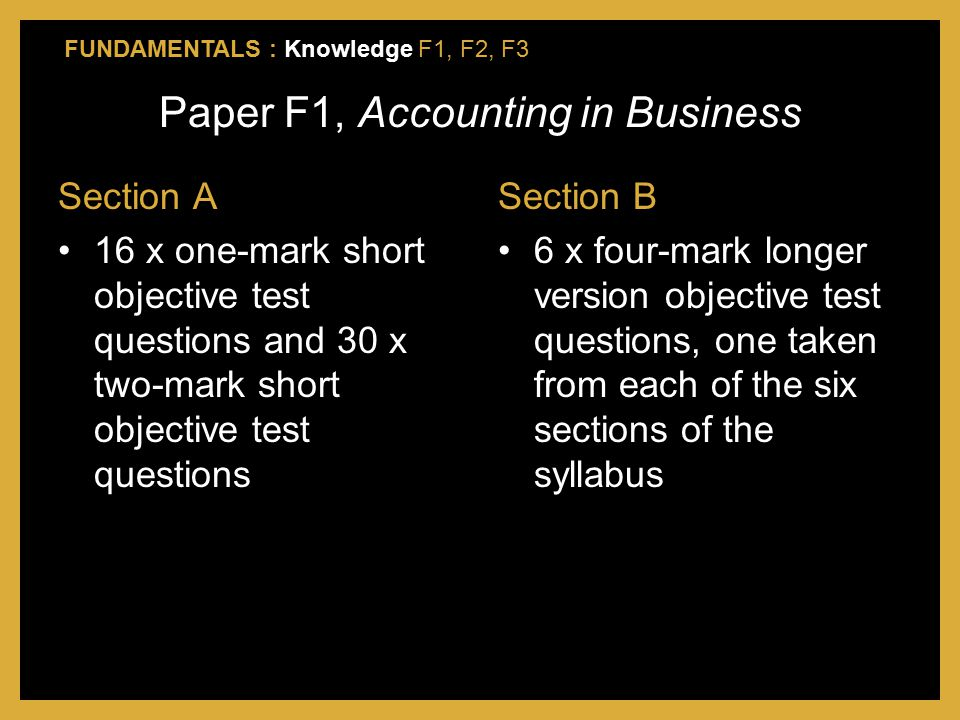 Paper F1, Accounting in Business