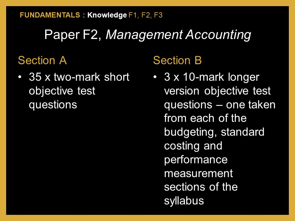 Paper F2, Management Accounting