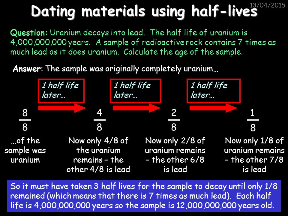 Dating materials using half-lives