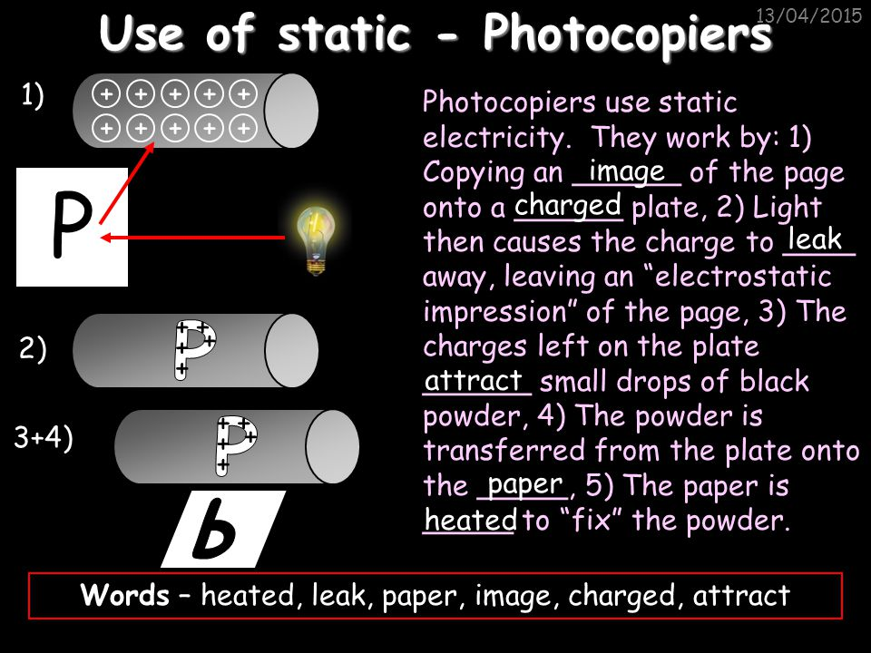 Use of static - Photocopiers