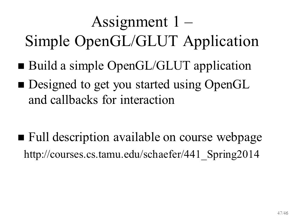Assignment 1 – Simple OpenGL/GLUT Application