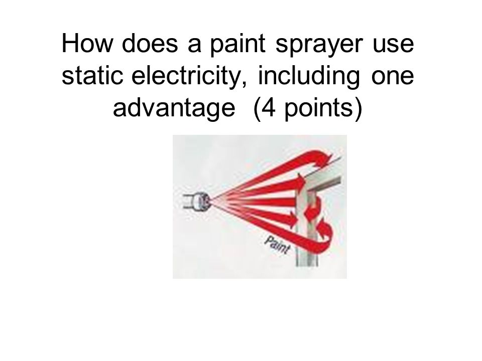 How does a paint sprayer use static electricity, including one advantage (4 points)