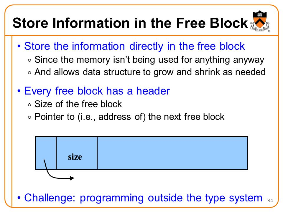 Store Information in the Free Block