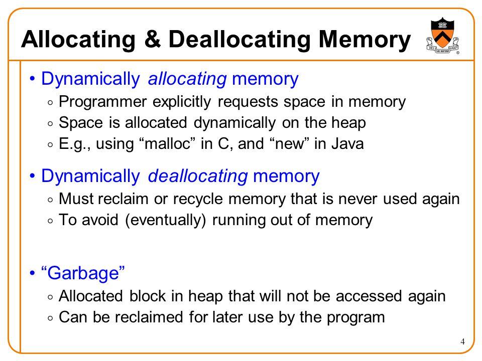 Allocating & Deallocating Memory