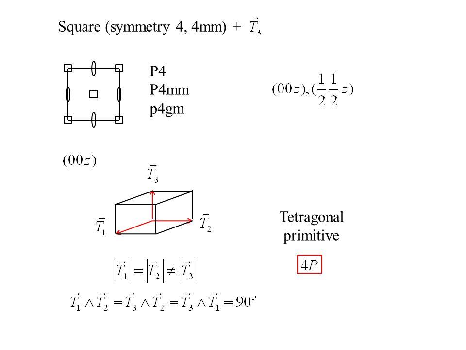 Square (symmetry 4, 4mm) + P4 P4mm p4gm Tetragonal primitive