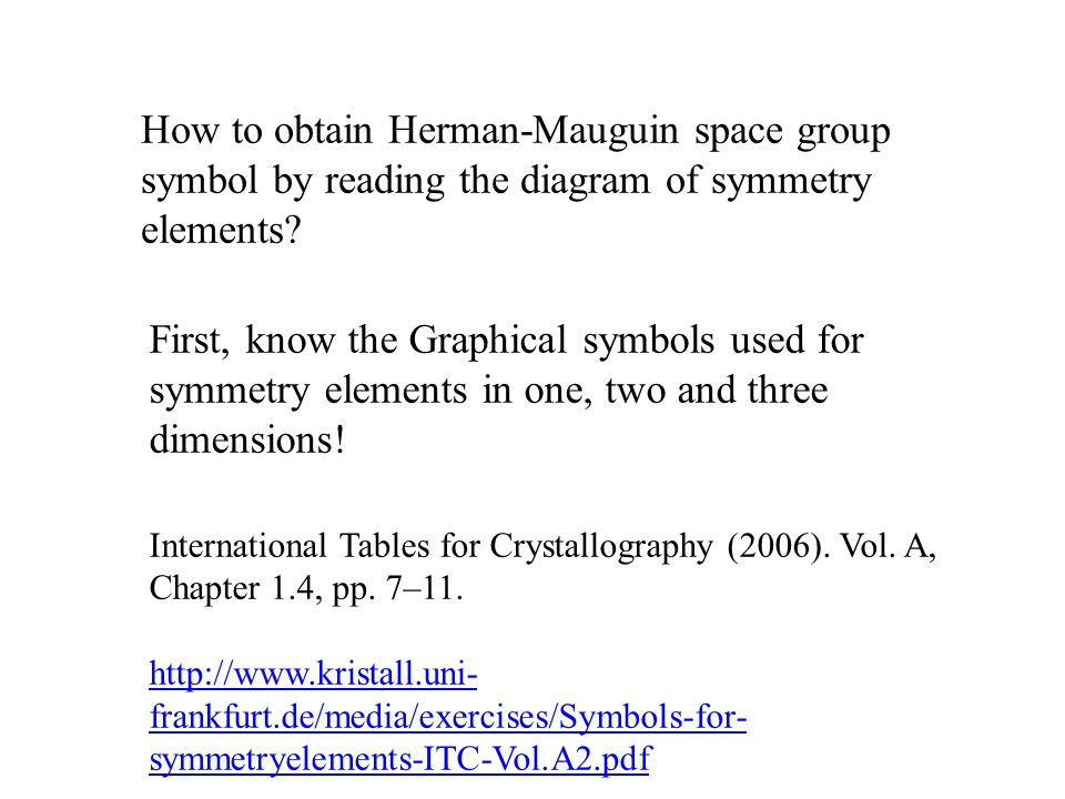 How to obtain Herman-Mauguin space group symbol by reading the diagram of symmetry elements