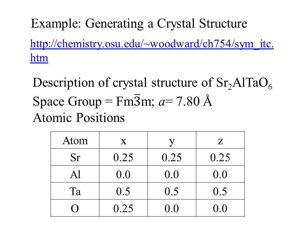 Example: Generating a Crystal Structure