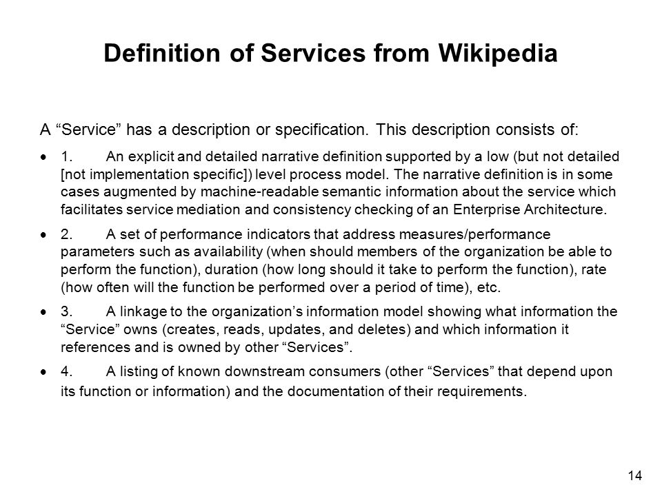 Definition of Services from Wikipedia