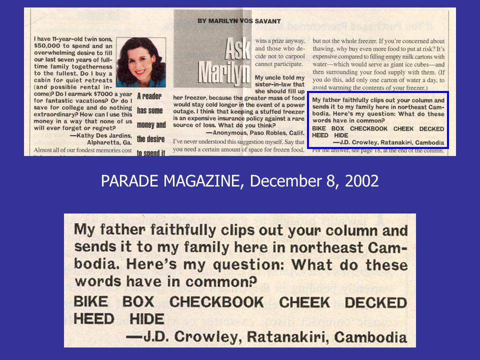 PARADE MAGAZINE, December 8, 2002