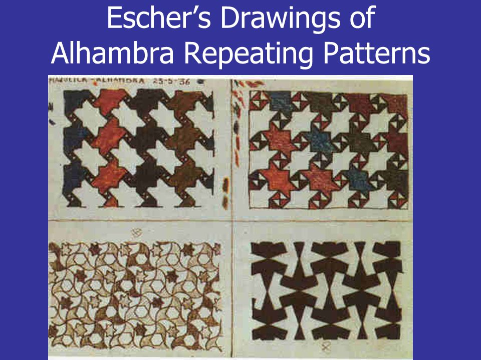 Escher's Drawings of Alhambra Repeating Patterns