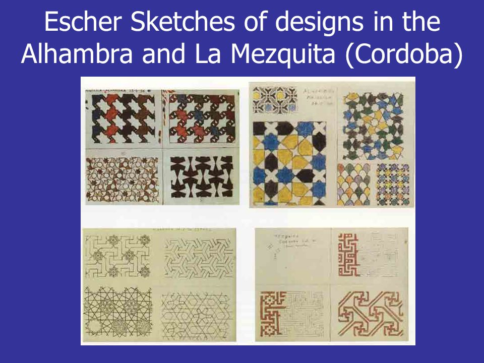 Escher Sketches of designs in the Alhambra and La Mezquita (Cordoba)