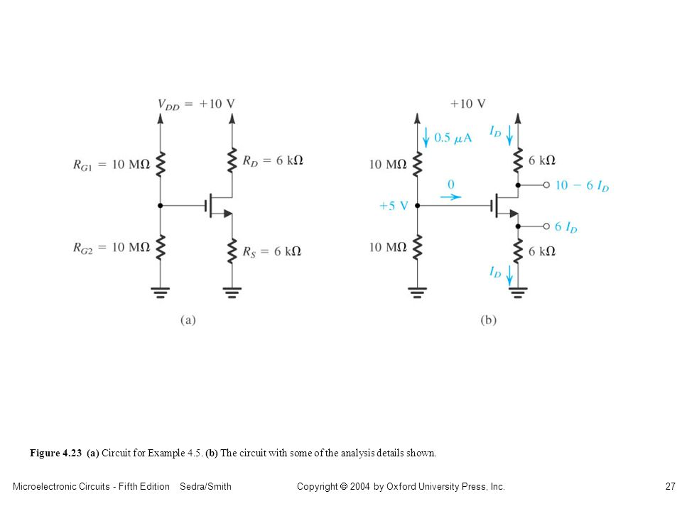 sedr42021_0423a.jpg Figure 4.23 (a) Circuit for Example 4.5. (b) The circuit with some of the analysis details shown.