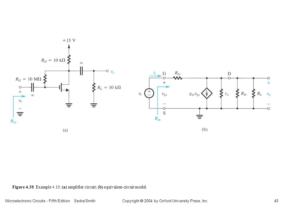 sedr42021_0438a.jpg Figure 4.38 Example 4.10: (a) amplifier circuit; (b) equivalent-circuit model.