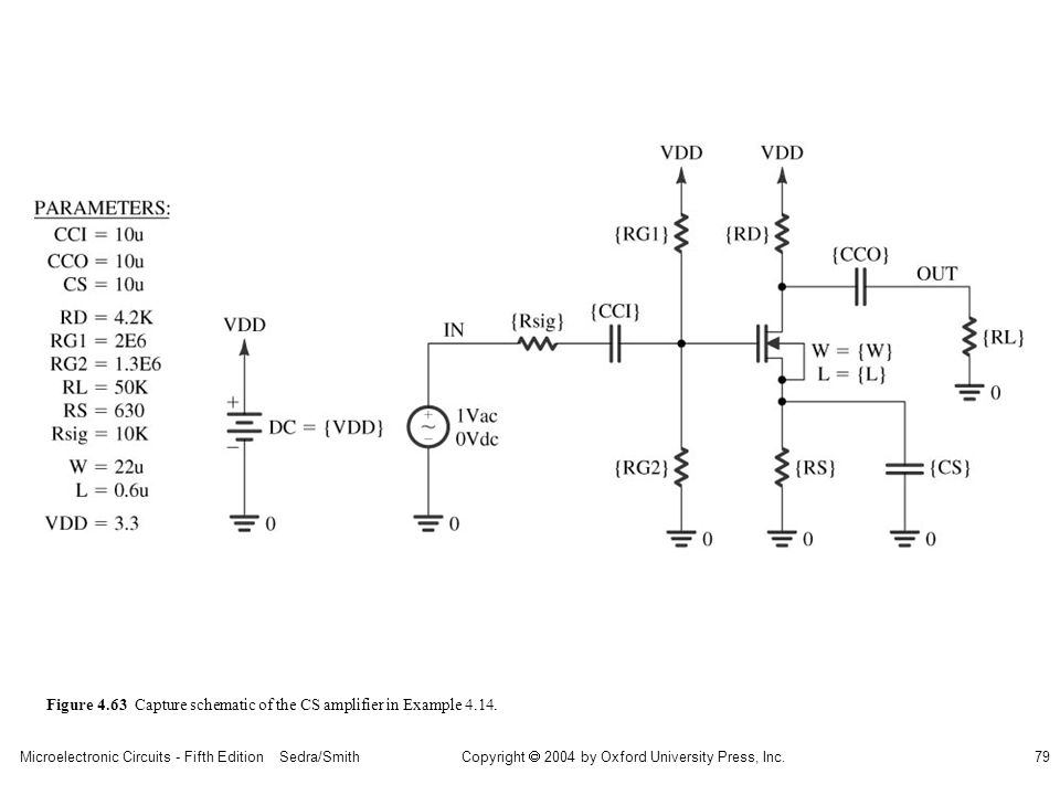 sedr42021_0463.jpg Figure 4.63 Capture schematic of the CS amplifier in Example 4.14.