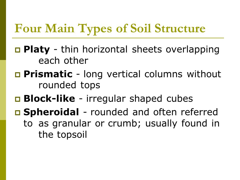 Four Main Types of Soil Structure