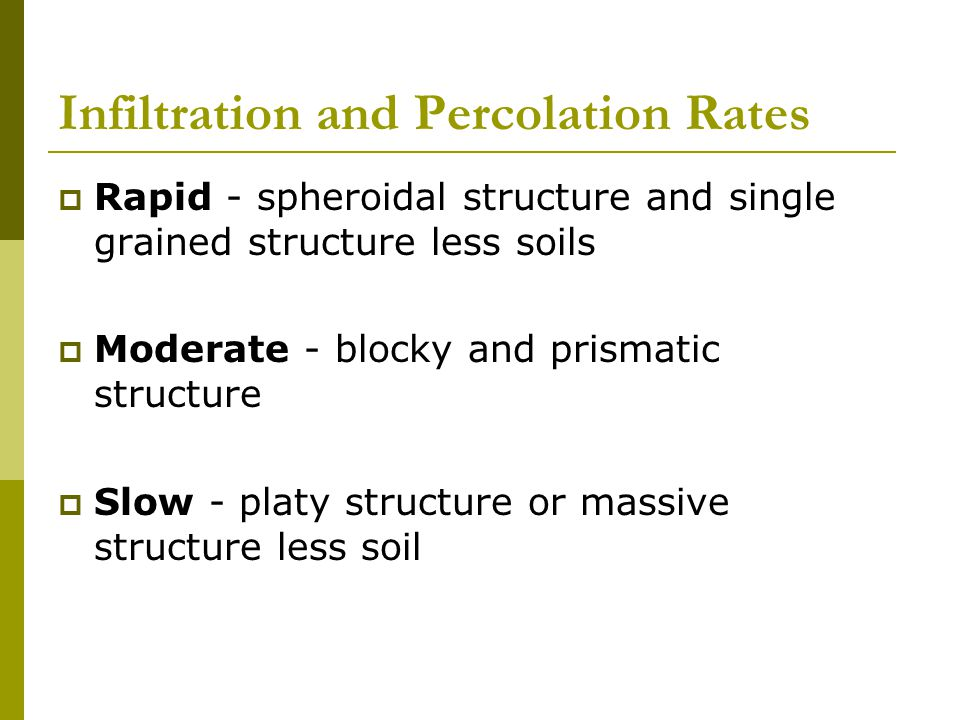 Infiltration and Percolation Rates