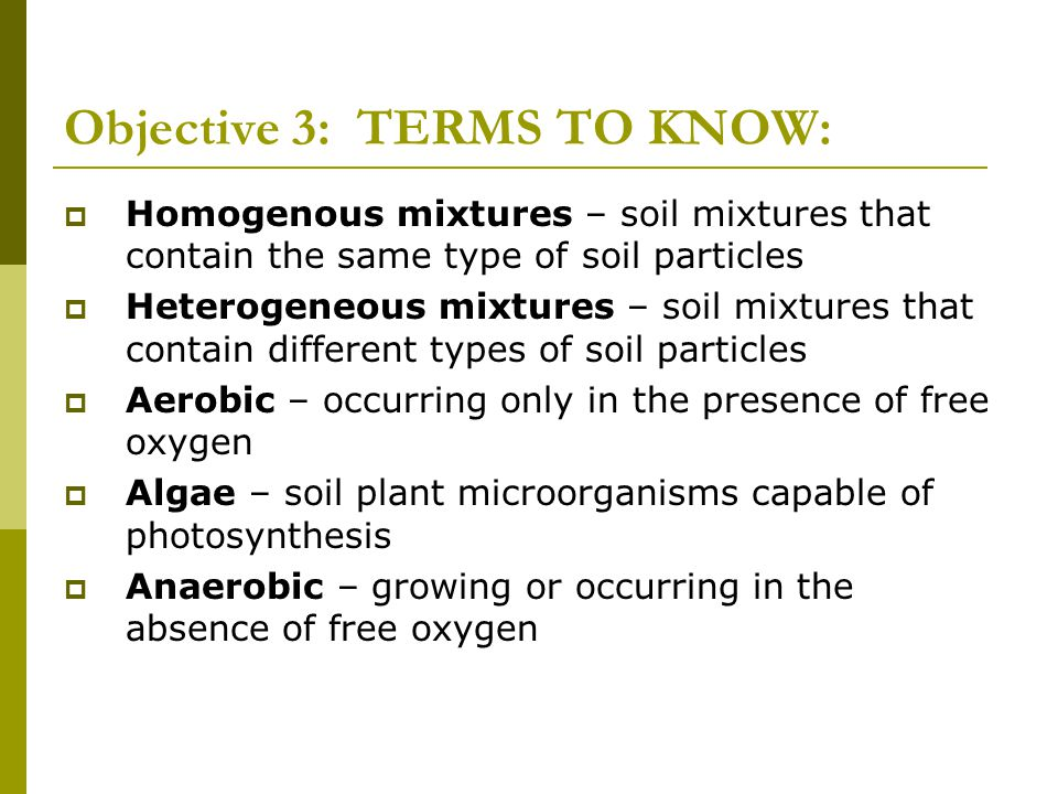 Objective 3: TERMS TO KNOW: