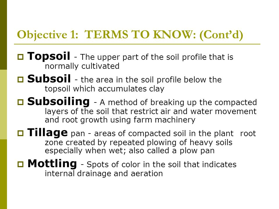 Objective 1: TERMS TO KNOW: (Cont'd)