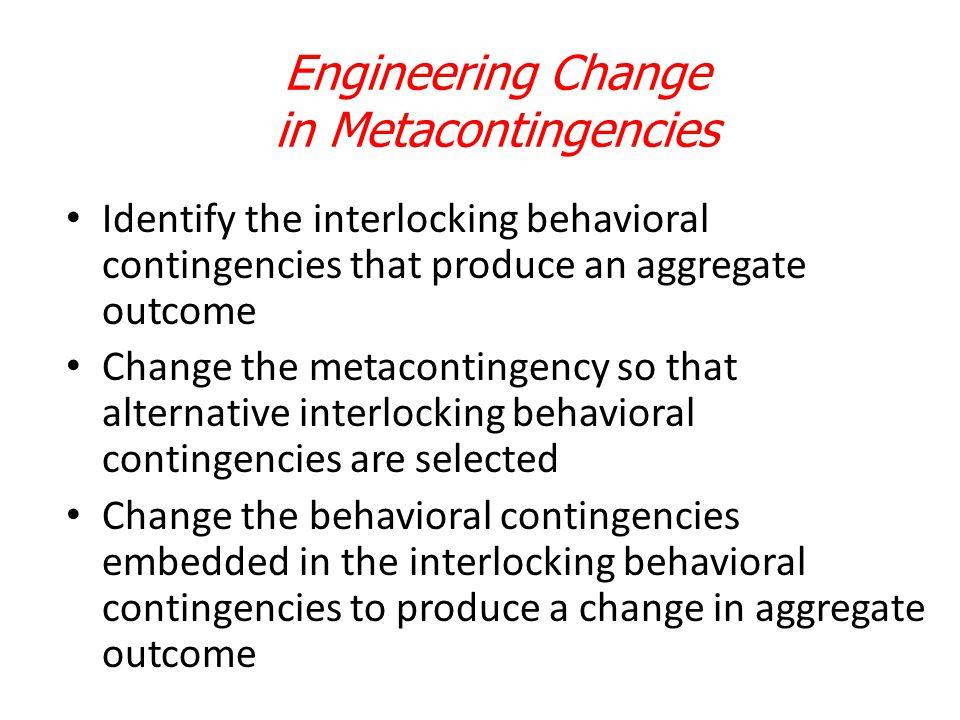 Engineering Change in Metacontingencies