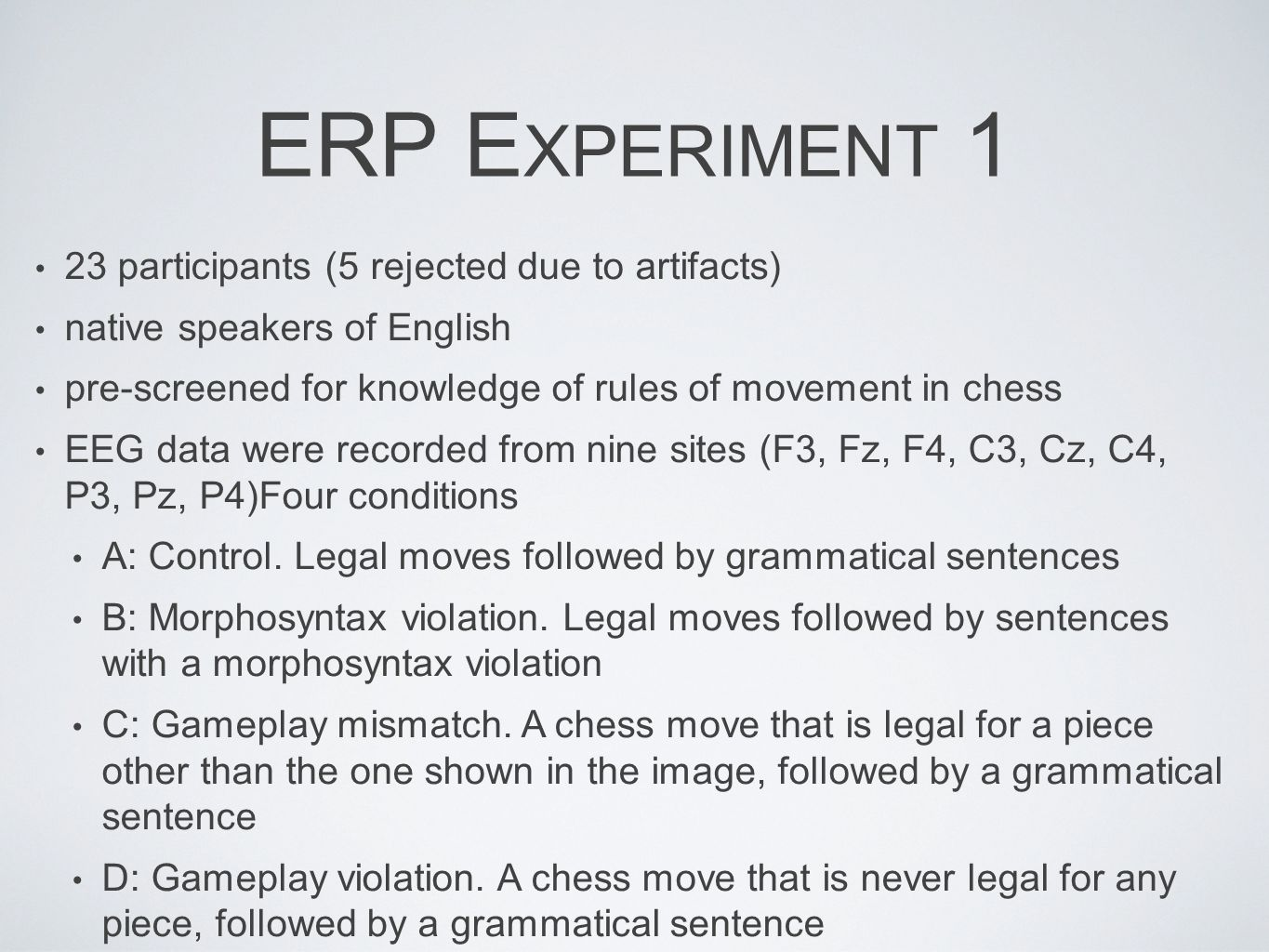 ERP Experiment 1 23 participants (5 rejected due to artifacts)