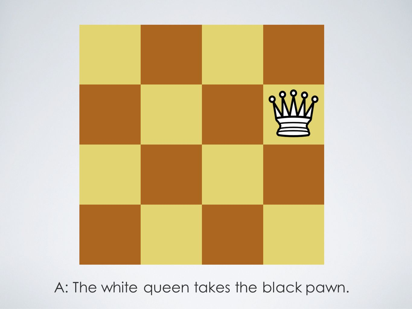 A: The white queen takes the black pawn.