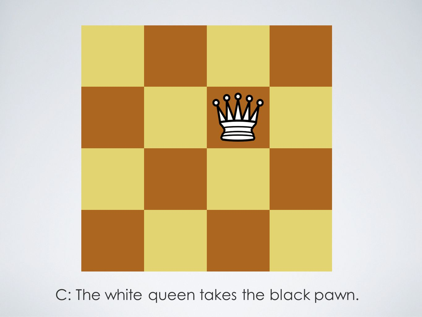 C: The white queen takes the black pawn.