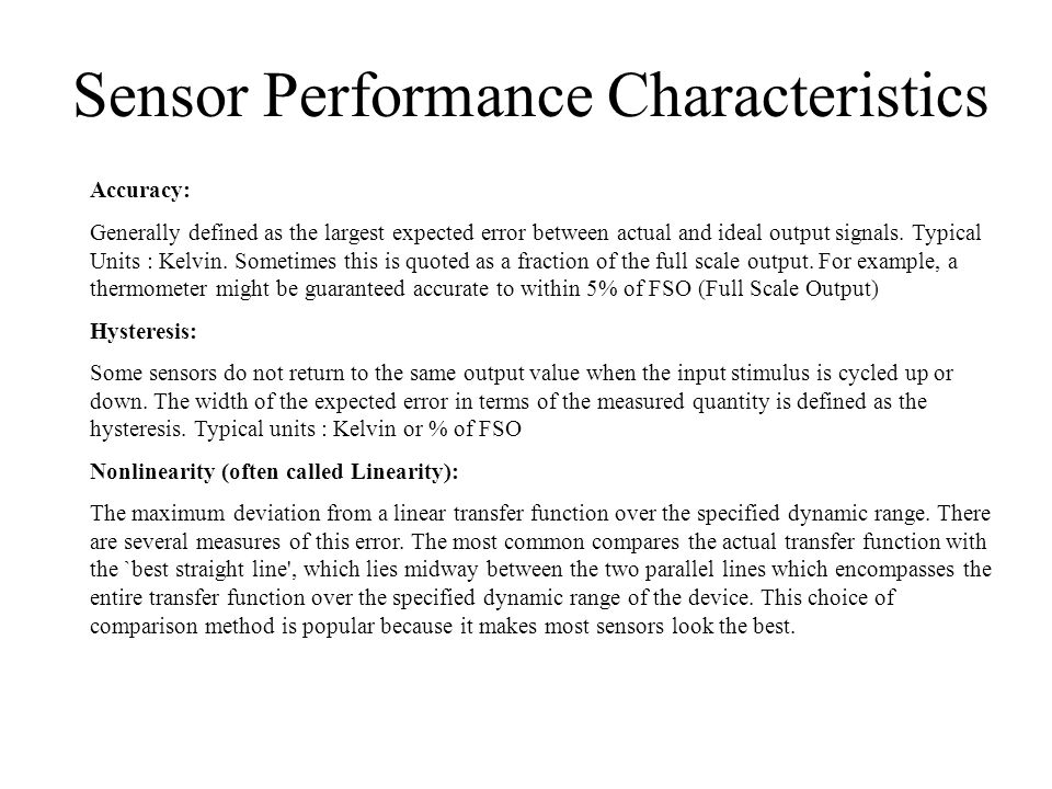 Sensor Performance Characteristics