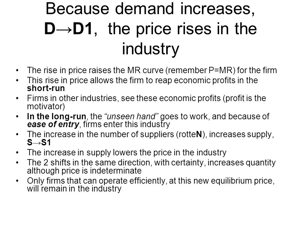 Because demand increases, D→D1, the price rises in the industry