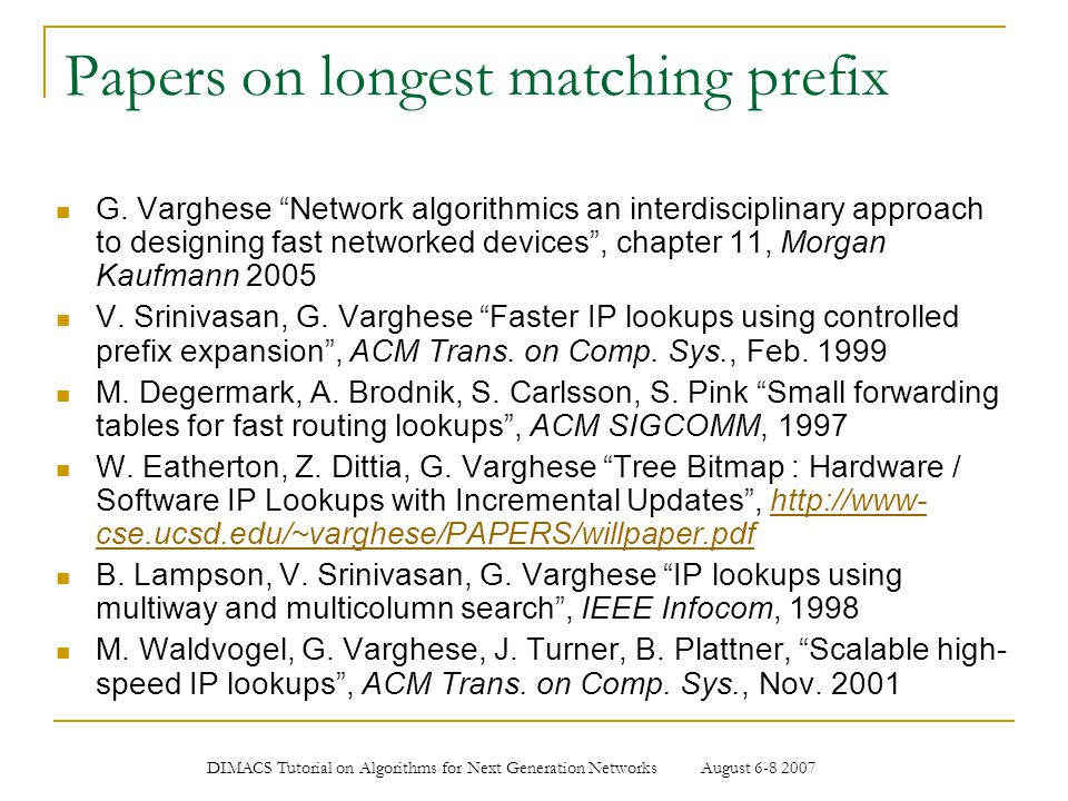 Papers on longest matching prefix