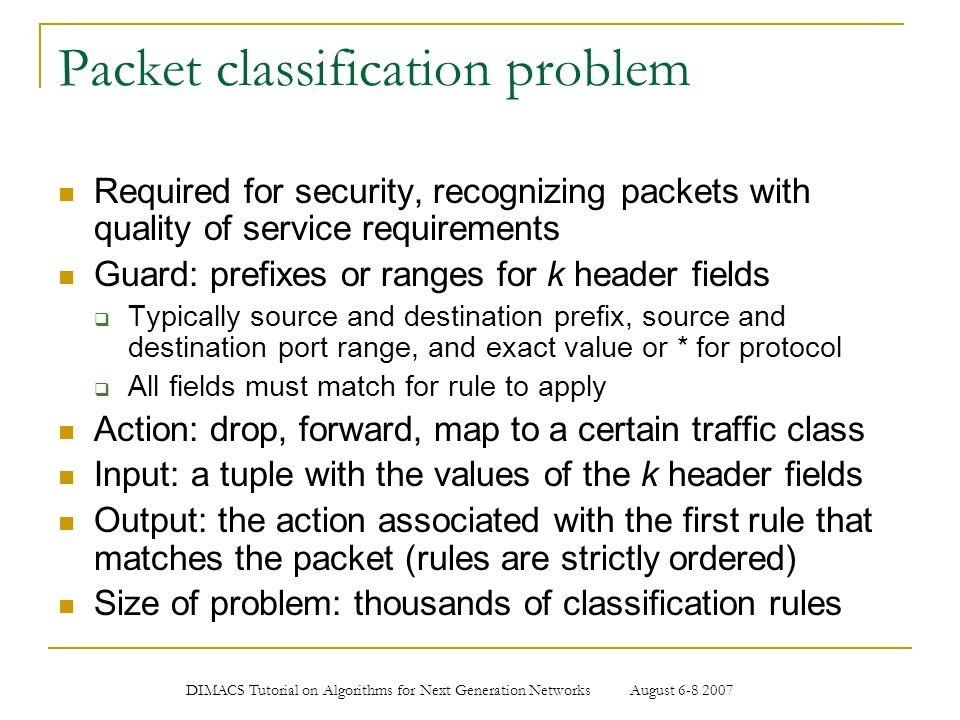 Packet classification problem