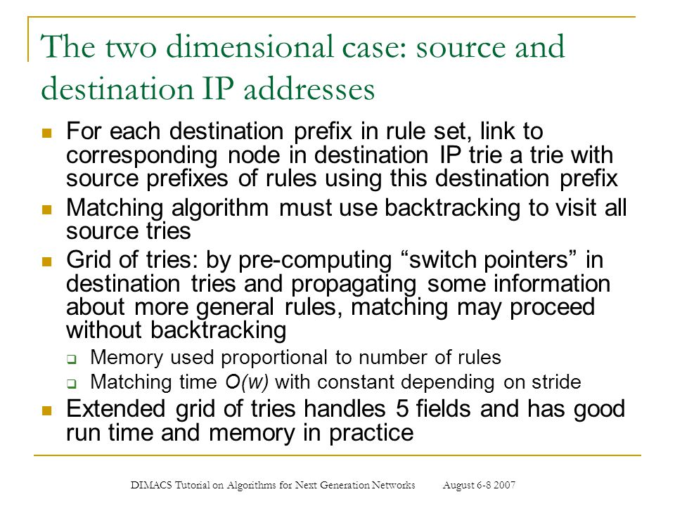 The two dimensional case: source and destination IP addresses