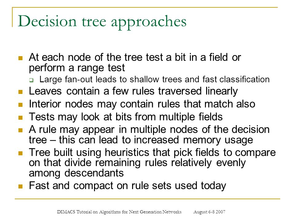 Decision tree approaches